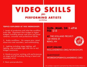 Holland Project present: Video Skills for Artists Workshop @ Holland Project